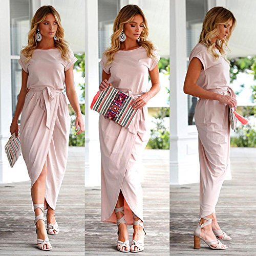 4ce1bbd8f0 Women's Short Sleeve High Slit Solid Maxi Dress with Belt Casual Long Dress  Pink