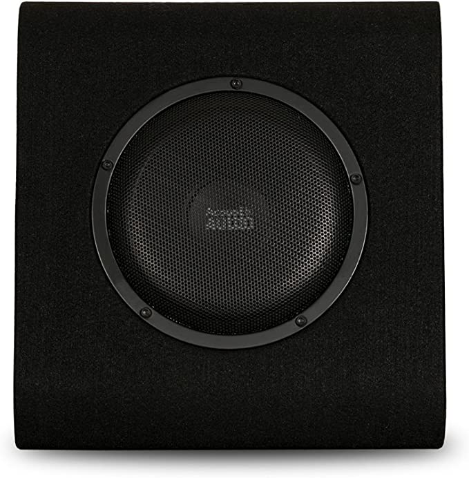 Acoustic Audio by Goldwood ACA8WG Powered Amplified 8 Car Ported Subwoofer 600W with Wiring Kit and Remote Level Control Black