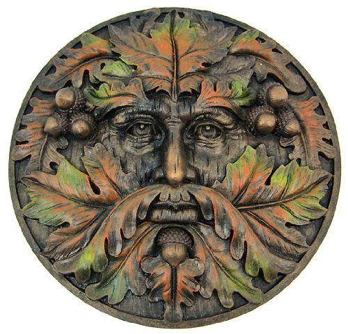 Greenman Plaque-Fall - Collectible Figurine Statue Sculpture (Green Resin Christmas Tree)