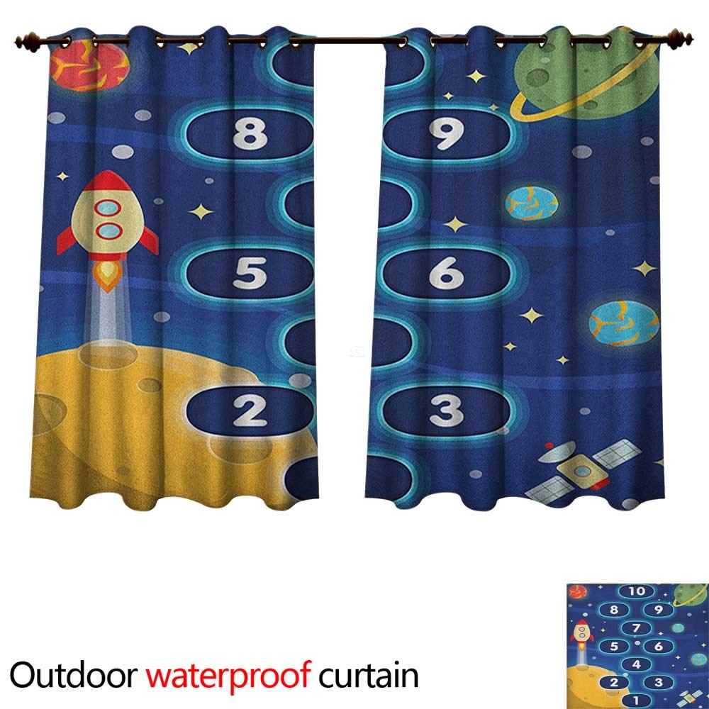 Anshesix Kids Activity Outdoor Balcony Privacy Curtain Children Activity Hopscotch Game in Space Science Fiction Themed Cartoon W72 x L63(183cm x 160cm)