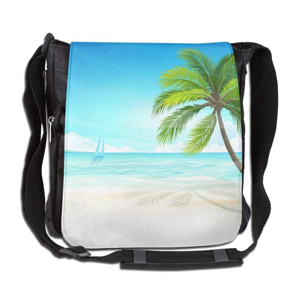 SARA NELL Messenger Bag,Tropical Hawaii Beach,Unisex Shoulder Backpack Cross-body Sling Bag