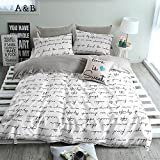 BuLuTu Love Letters Print Cotton Queen Duvet Cover Set White Gray Premium Teen Boys Girls Bedroom Bedding Set Full Size Zipper Closure