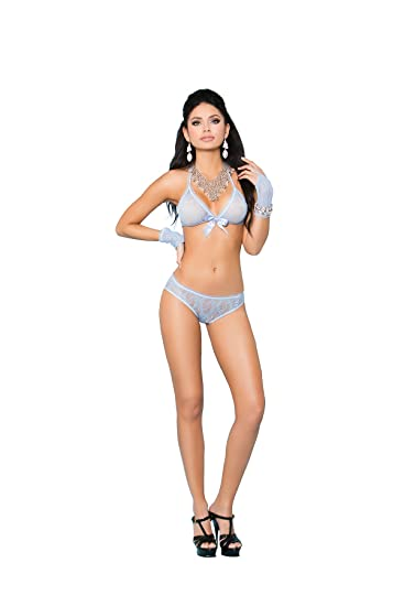 Amazon.com  Elegant Moments Wireless Lace Bra   Panty Set 9753021bc