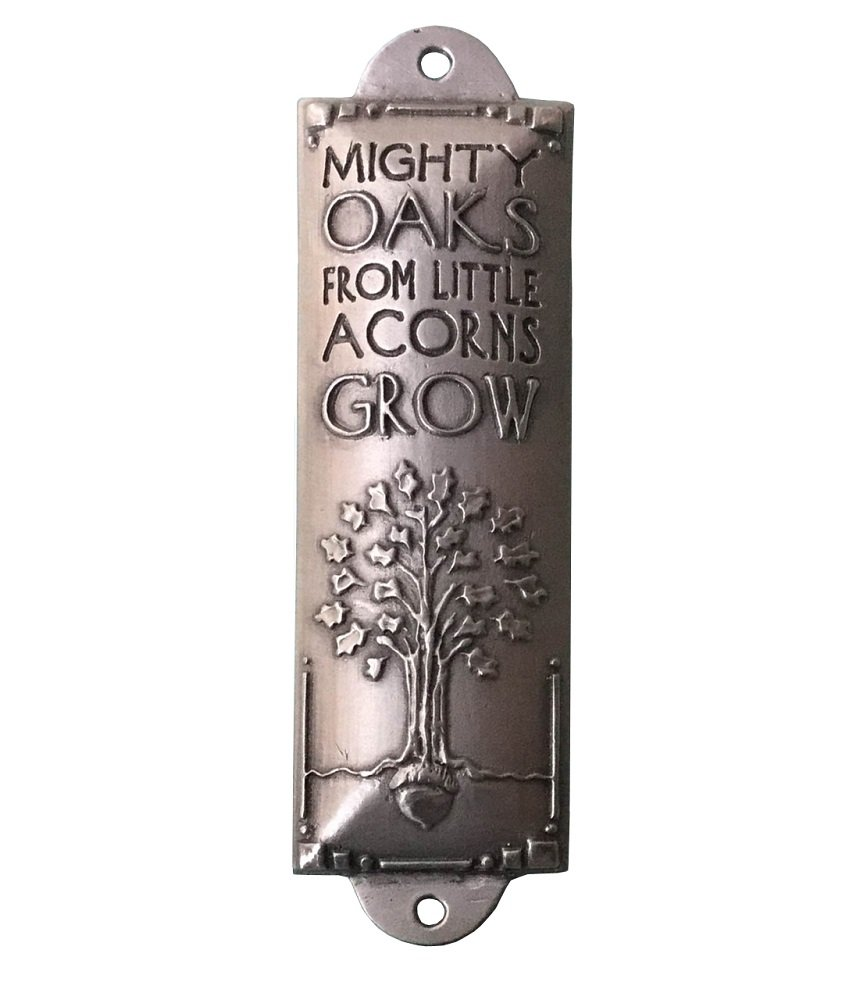 Pewter Room Blessing Plaques By Cynthia Webb - Mighty Oaks - Pewter Christian Mezuzah Blessing