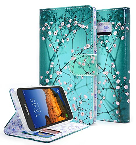 NageBee Wallet Case Compatible with Samsung Galaxy S7 Active [Kickstand Feature] Premium PU Leather Flip Fold Wallet Case with [ID&Credit Card Slot] (Wallet Plum Blossom)