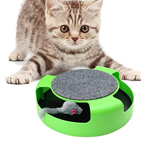 DJLOOKK Juguetes Interactivos para Gatos con Un Ratón Corriente Y Un Bloc De Rascar,Atrapa