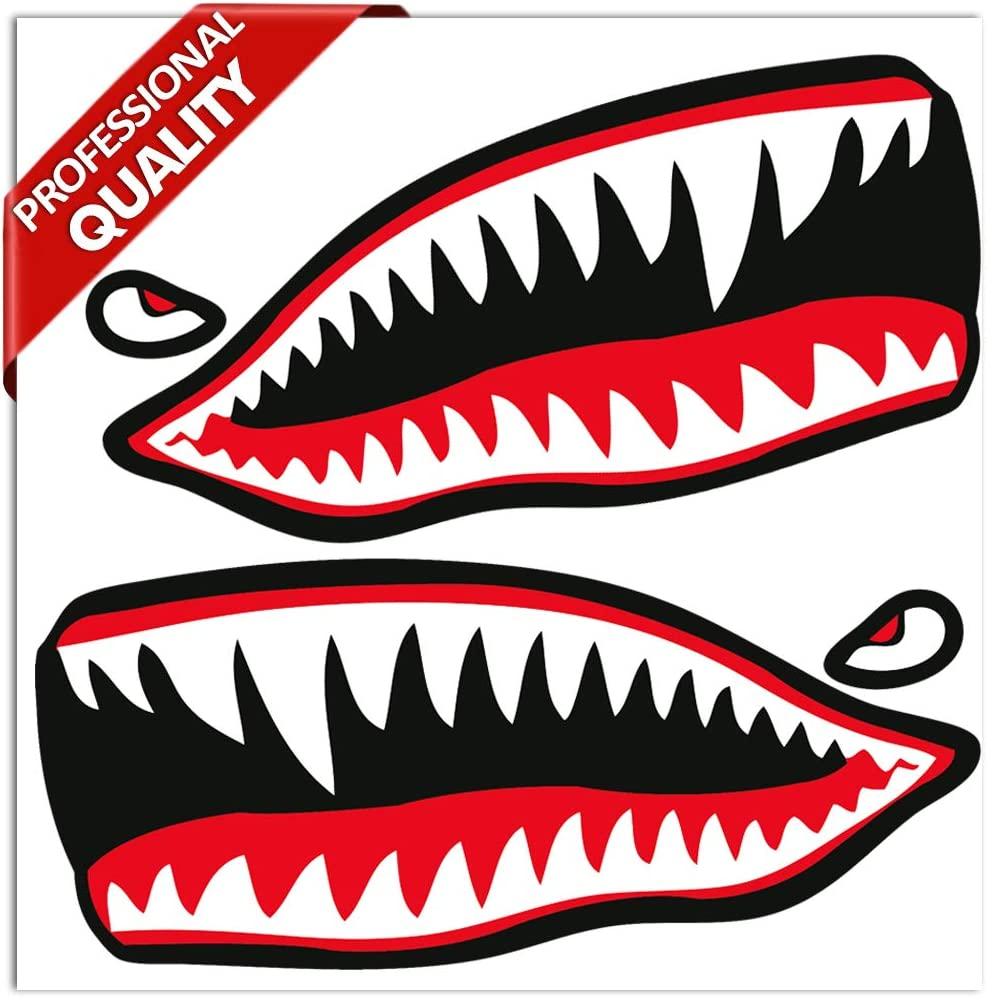 2 x Vinyl Stickers Shark Teeth Mouth Fishing Boat Decals Flying Tigers Canoe Kayak Car Motorcycle Helmet Truck B 64