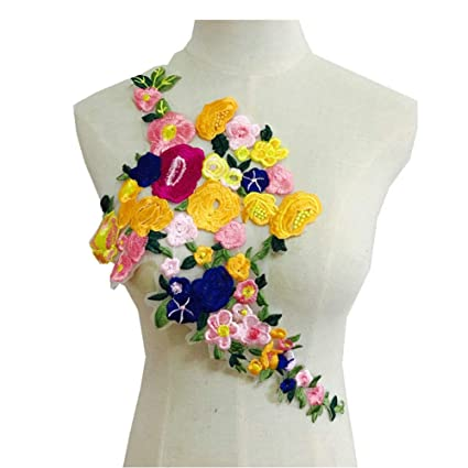 DIY Craft Rose Flower Embroidered Patches Collar Sew On Patch Applique Badge