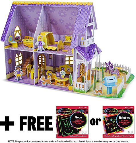 Pretty Purple Dollhouse: 3D Puzzle & Playset In One + FREE Melissa & Doug Scratch Art Mini-Pad Bundle [94610]