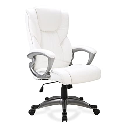 Incredible Belleze Executive Office Chair Padded Faux Leather Seat Swivel Adjustable Height White Gmtry Best Dining Table And Chair Ideas Images Gmtryco