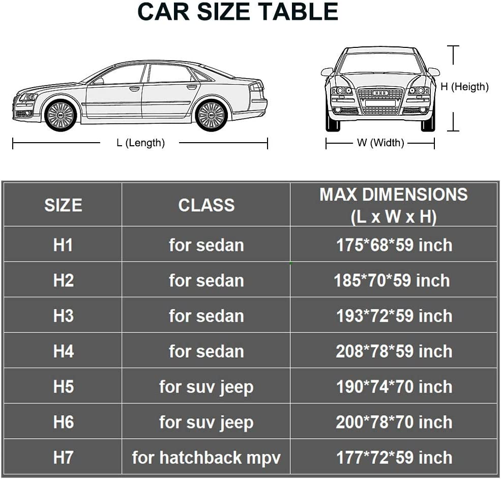 Fit Sedan Up to 175 Inch Outdoor Sun Uv Rain Protection Kayme Car Cover Waterproof All Weather with Lock and Zipper