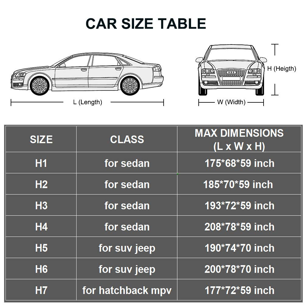 176 to 185 Inch Fit Sedan Kayme Car Cover Waterproof All Weather with Lock and Zipper Outdoor Sun Uv Rain Protection