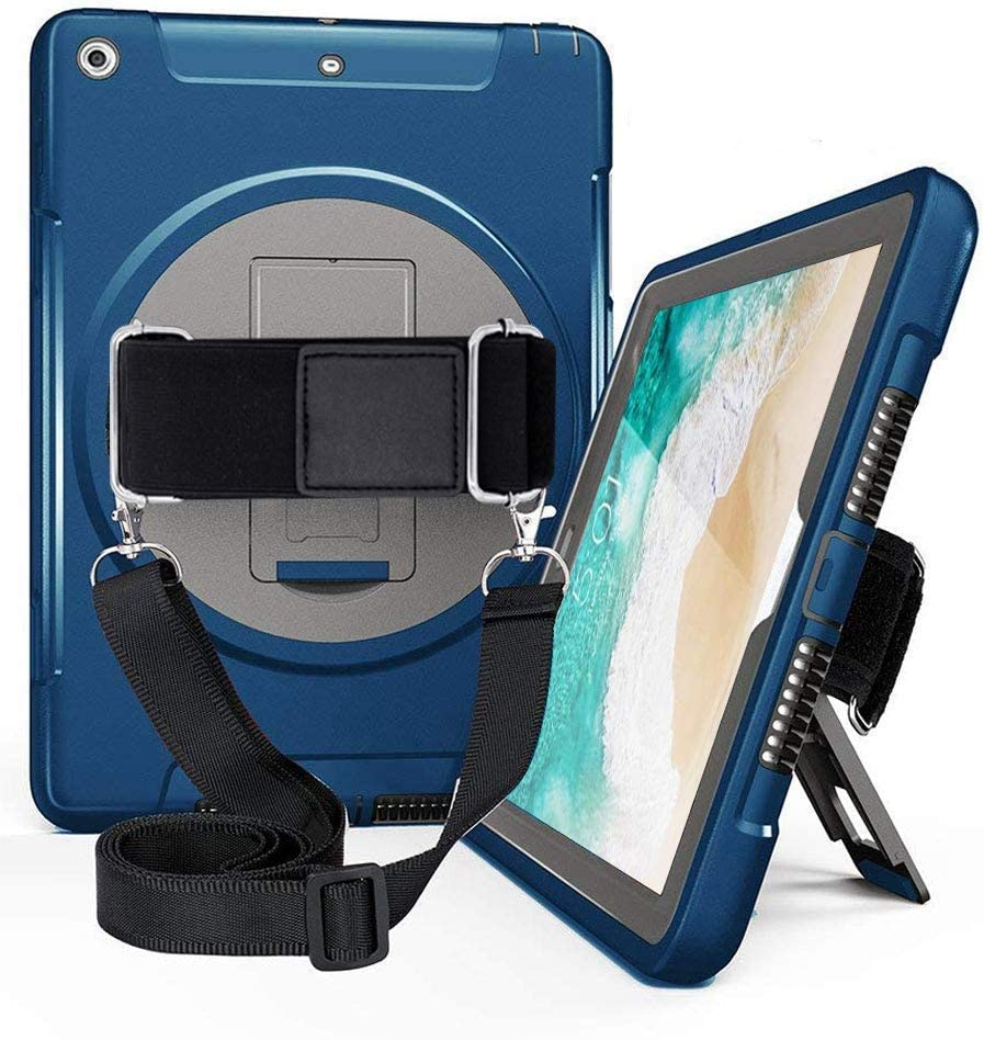TSQ iPad 5th 6th Generation Cases, iPad 9.7 Case Cover 2017 2018 for Kids,Three Layer Hybrid Bumper Durable Drop Protection Hard Case with 360 Swivel Stand,Hand Grip/Handle& Shoulder Strap Navy Blue