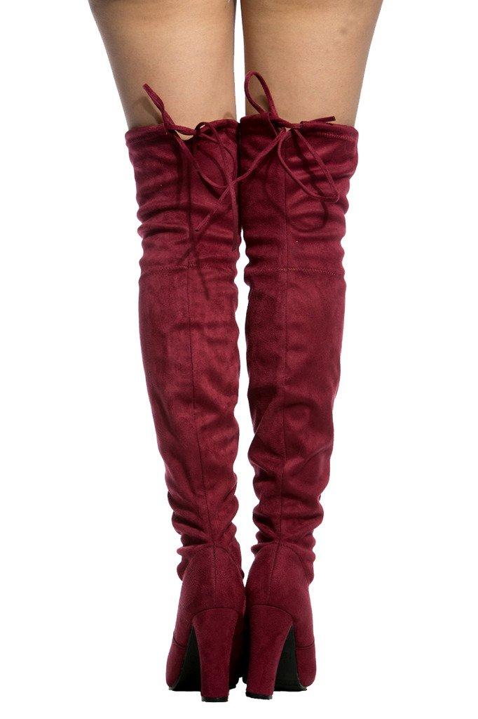 C. Longford Women's Diva Thigh High Over The Knee - Drawstring Block Chunky Heel Pointy Round Toe - Stretchy Thigh High Snug Fit Boots B01NBB5DGF 8 B(M) US|Burgandy Suede