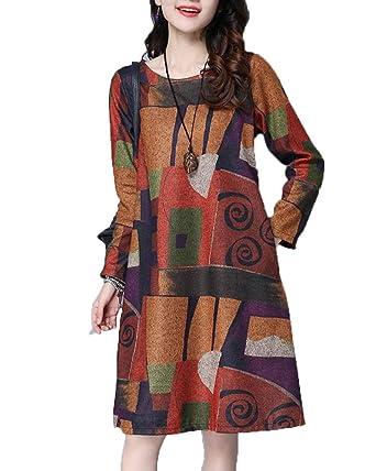 9cc1f57c251 Femme Hiver Pull Ample Fleurs Imprimée Manches Longues Vintage Fluide Robe  Longue Chaud Orange 2XL