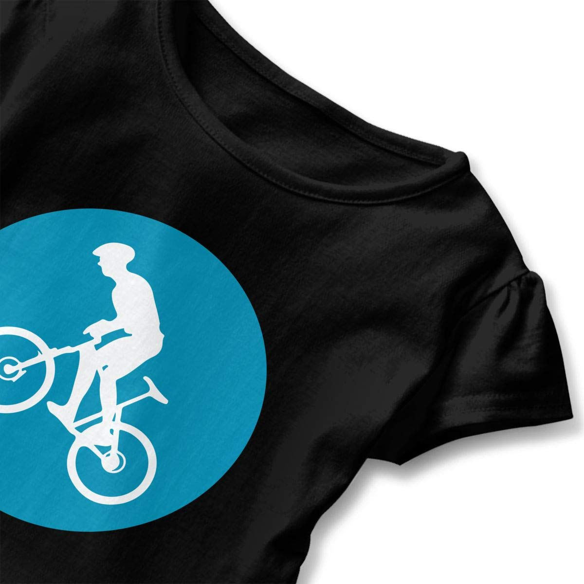 Little Girls Mountain Bike Circle Icon Funny Short Sleeve Cotton T Shirts Basic Tops Tee Clothes