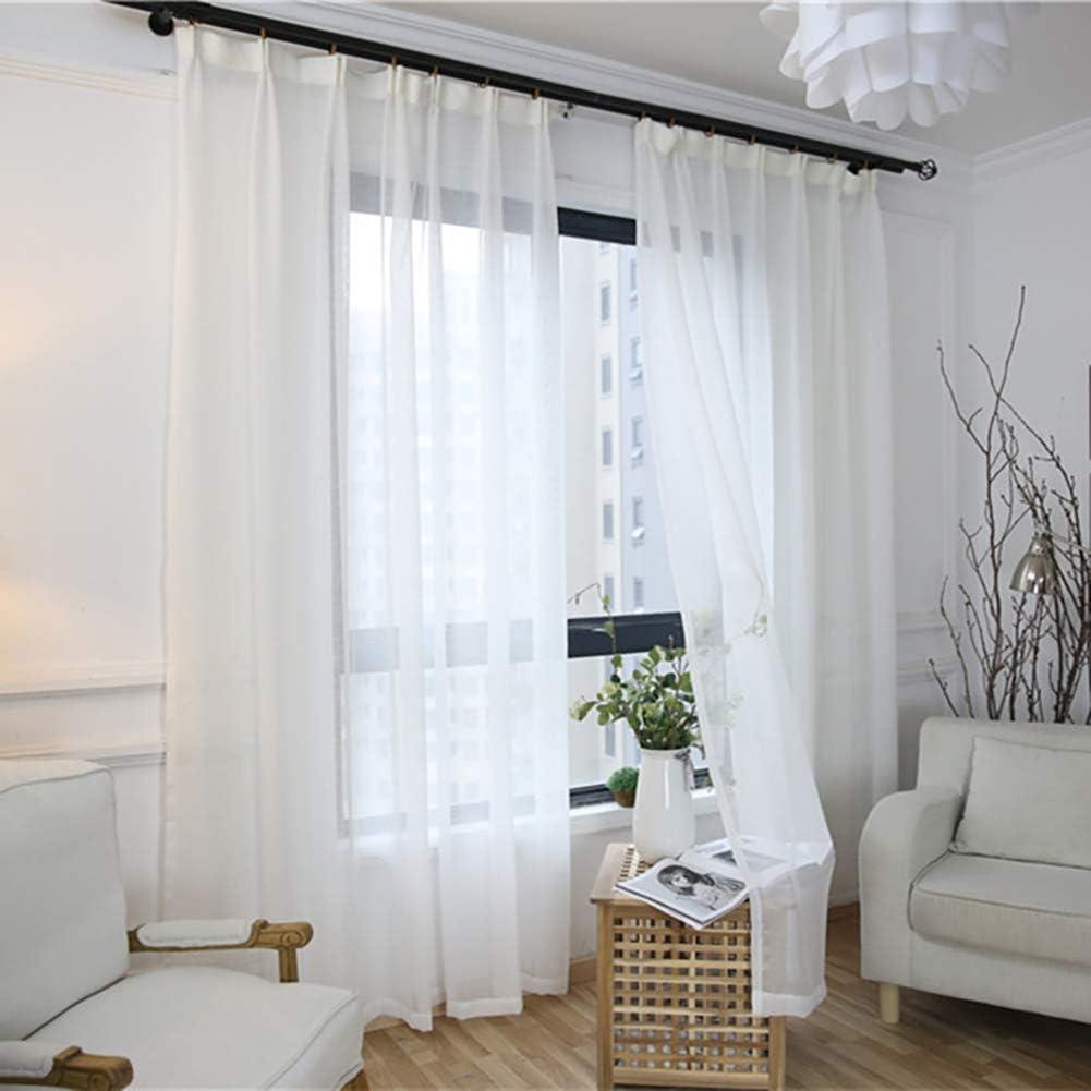 JIAOXM Cortinas Blancas Transparentes-Semi Sheer Voile Cortinas, Apariencia de Lino/adecuadas para el Dormitorio, Sala de Estar, Cocina,pc 1,A,200×265cm(79×104inch): Amazon.es: Hogar
