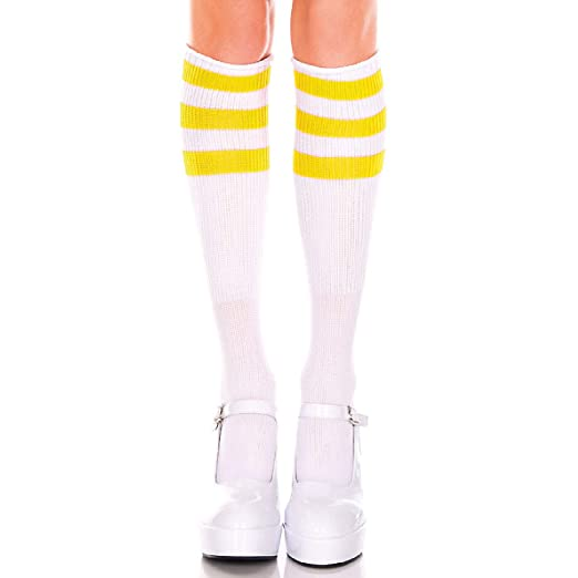 35342260971 Image Unavailable. Image not available for. Color  Music Legs 5726-WHITE-YELLOW  Acrylic Knee High Socks ...