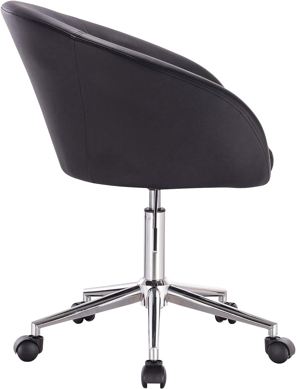 WOLTU BS32sz-1 Chaise de Bureau Fauteuil pivotant en Similicuir Chaise r/églable en Hauteur Noir