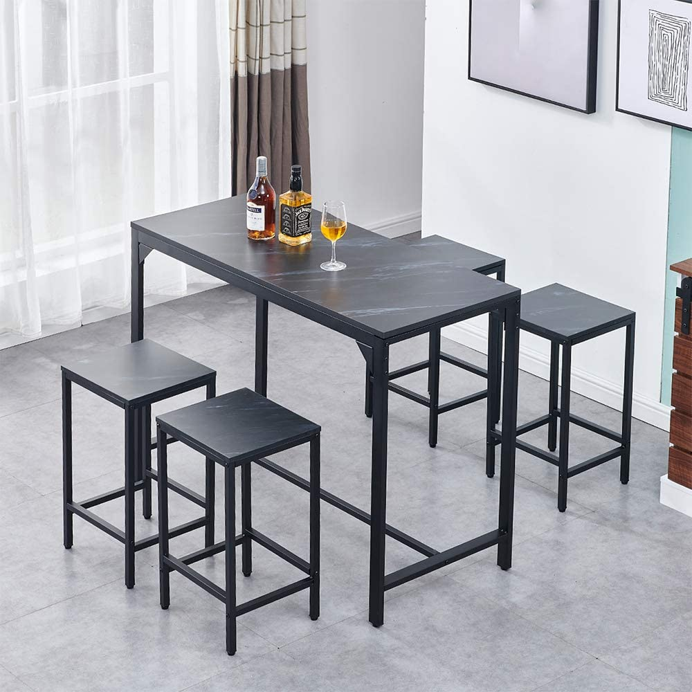 Homesailing 5 Pieces Bar Counter Table And Stools Kitchen Set For 4 People Breakfast Small Dining Room Table And 4 Chair Set Wood Tabletop With Black Metal Frame Home Apartment Furniture Amazon Co Uk