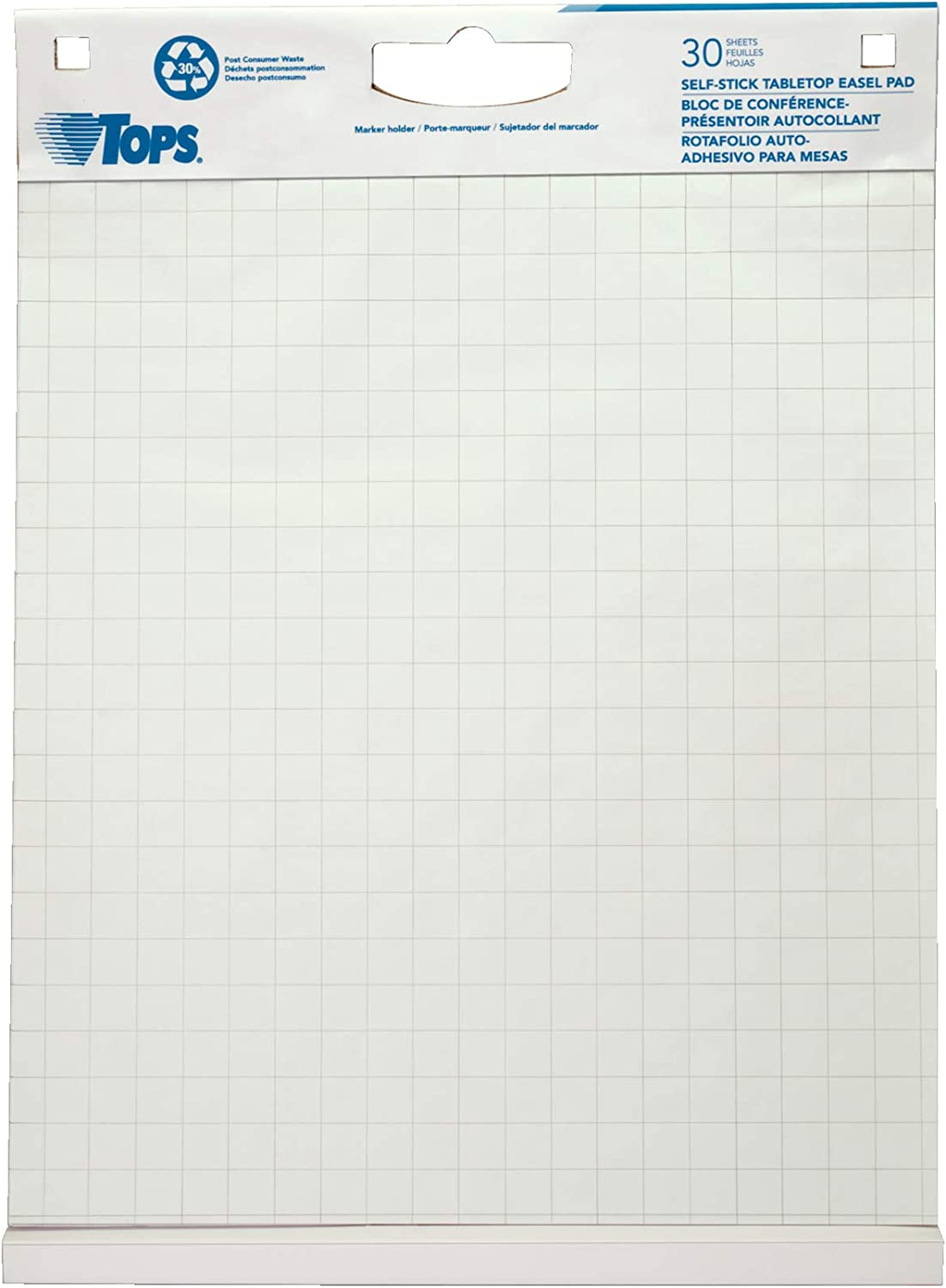 TOPS Easel Pad with Tabletop Easel, 30 Self Stick Sheets, White, 22 x 23 Inches (79250) : Office Products
