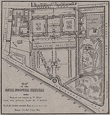 Map Of Uk 1900.Chelsea Map Of The Royal Hospital Chelsea 1900 Small 1900 Old