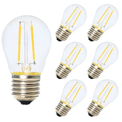 6X E27 Bombillas de Filamento Globo LED G45 2W Blanco Calido 2700K Diametro 45MM Equivalencia Bombillas