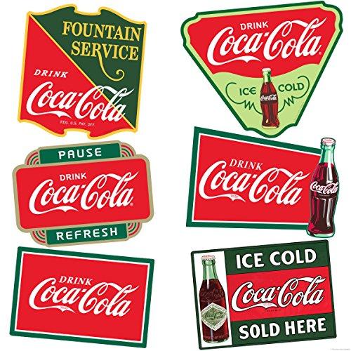 Coke Refresh Fountain (Retro Planet Drink Coca-Cola Ice Cold Fountain Service Vinyl Sticker Set of 6)