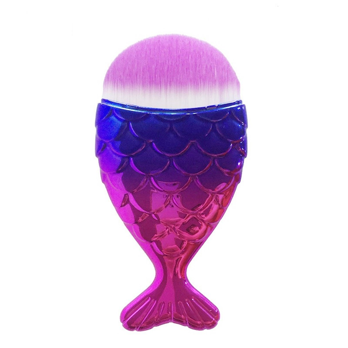 1 Pcs Mermaid Fish Makeup Brushes Set Powder Contour Cosmetic Make Up Tool Foundation Natural Beauty Palette Eyeshadow Deluxe Popular Eyes Faced Colorful Rainbow Hair Highlights Glitter Kit, Type-15