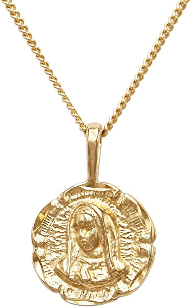 Antique Sterling Silver Double Sided Oval /'JESUS /& MARY/' Religious Pendant Chain Necklace