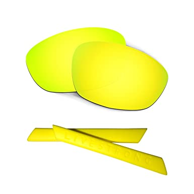 HKUCO 24K Gold/Green Polarized Replacement Lenses plus Yellow Earsocks Rubber Kit For Oakley Straight Jacket£¨2007