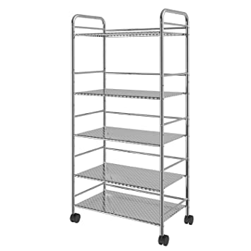 soges 52 * 32 * 130 cm 5 Tier Metal Rolling Cart Carrito Trolley Estantes de