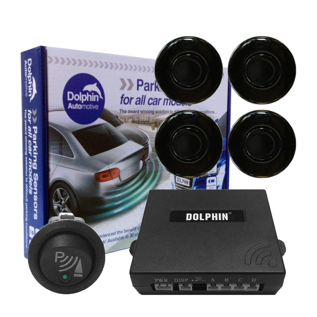 Dolphin Car Van Front Parking Sensors With Longer 6m Leads and Parking Switch in 32 Coloured Options UK Gloss Black