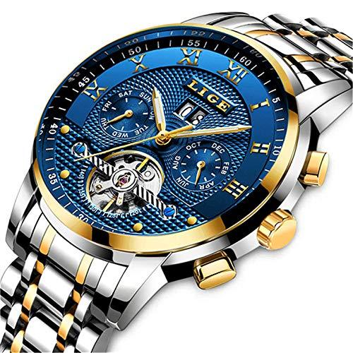 Mechanical Wrist Watch - Mens Watches Top Brand Luxury LIGE Automatic Mechanical Watch Men Waterproof Full Steel Wrist Watch