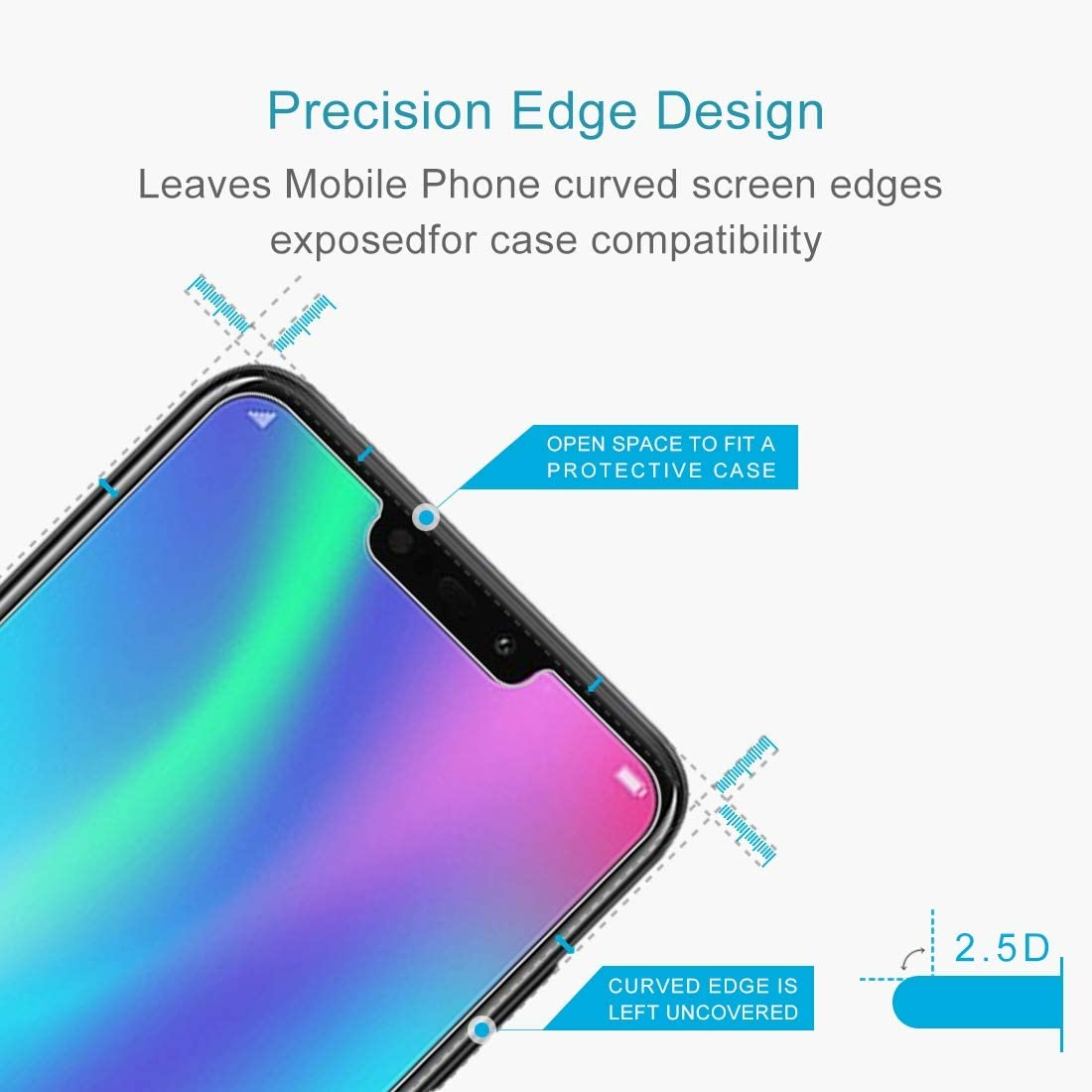 YSH Cell Phone Accessories 100 PCS 0.26mm 9H 2.5D Explosion-Proof Tempered Glass Film for Huawei Honor 8C Screen Protector for Huawei