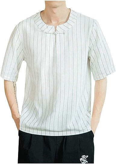 VICGREY Camisa de Hombre Coreana Camisas de Hombre Especiales Grandes Plus Size Oversize Camisa niño Lino Manga Corta Camisa Manga Corta fantasía Camisetas T-Shirt Transpirable Bianco 3XL: Amazon.es: Ropa y accesorios