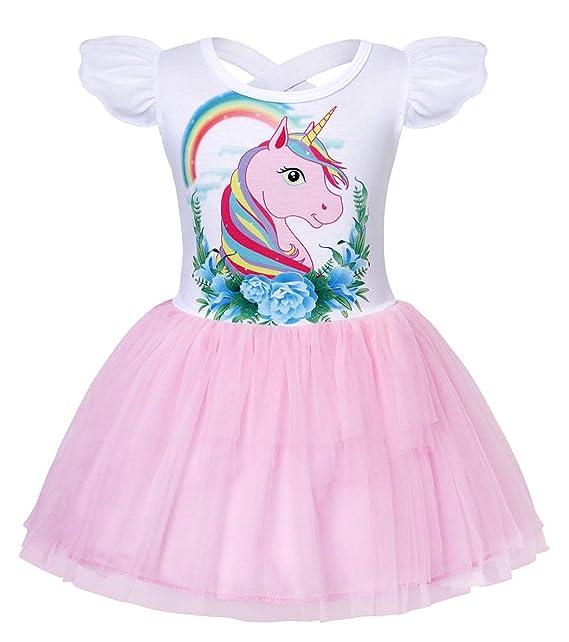 2fe2da86a45da AmzBarley Girls' Unicorn Dress up Princess Party Dresses Halloween Costumes  Childrens Short Sleeve Knee Long