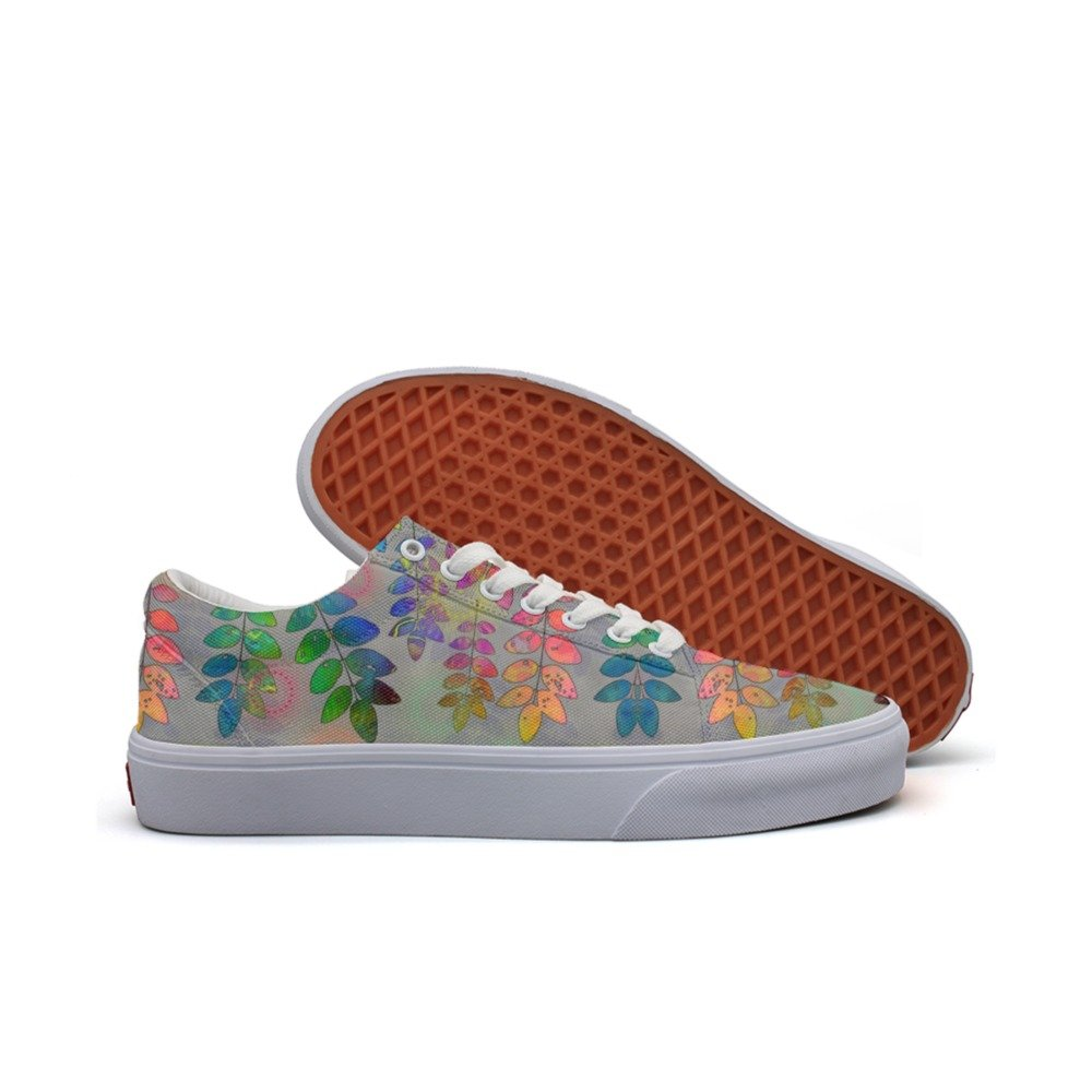 Ouxioaz womens Skateboarding Shoes Canvas rainbow leaves Sport Sneaker