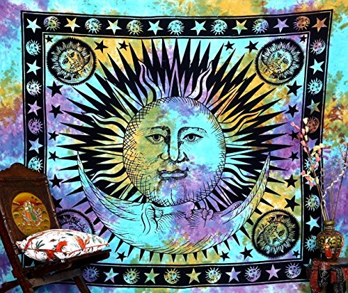 (Popular Handicrafts Hippie Tapestry Psychedelic Celestial Indian Sun Moon Hippie Hippy Tapestry Wall Hanging Throw Tie Dye Boho Bohemian Tye Die Tapestries Wall Art 90x84 Inches,(215x230cms))