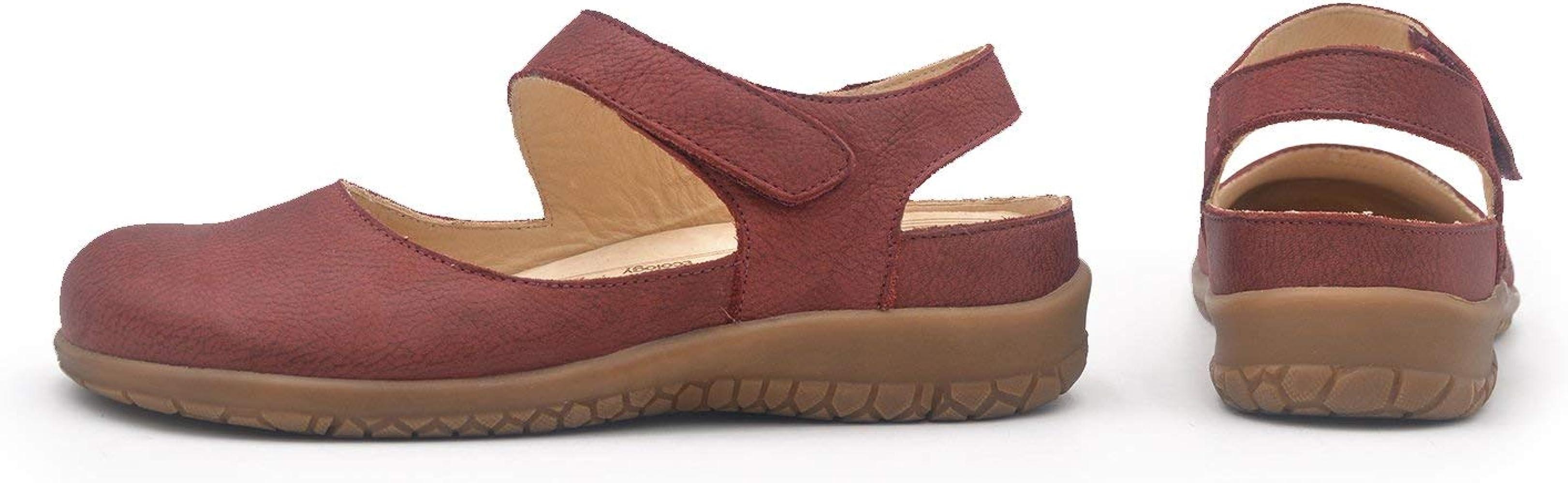 Laia Burdeos 36 EU Zapato Mujer Ancho y cómodo con Velcro