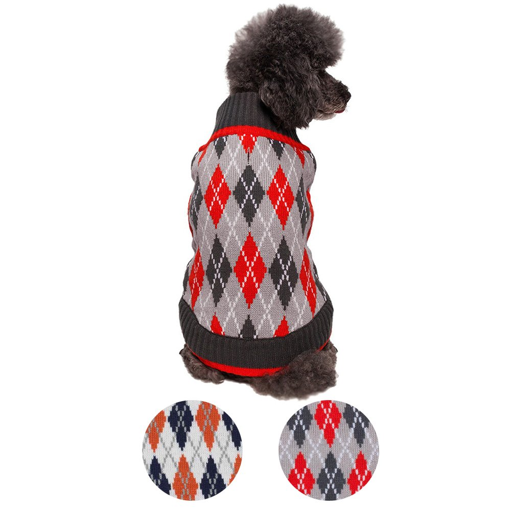 Blueberry Pet 2 Patterns Chic Argyle All Over Dog Sweater in Charcoal and Scarlet Red, Back Length 20'', Pack of 1 Clothes for Dogs