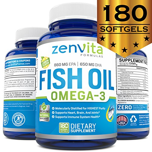 Yeast Cleanse 180 Capsules (Omega 3 Fish Oil Capsules - 180 Softgels, 1640mg Omega 3, 860mg EPA, 650mg DHA, Non-GMO & Gluten Free, Lemon Flavored - NO Fishy Aftertaste, Pharmaceutical Grade, Molecularly Distilled & Mercury Free)