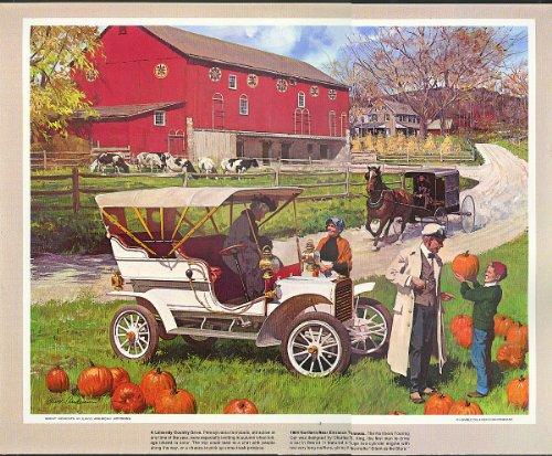 1904 Northern Rear Entrance Tonneau pumpkins Humble Oil calendar print 1960s