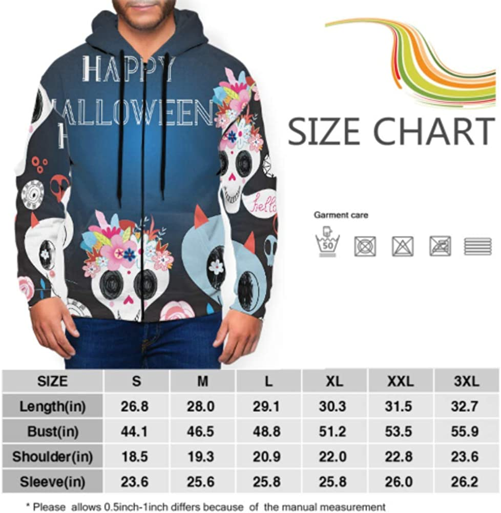 GUJGK Long Sleeve Hoodie Print Happy Halloween Beautiful Jacket Zipper Coat Fashion Mens Sweatshirt Full-Zip S-3xl