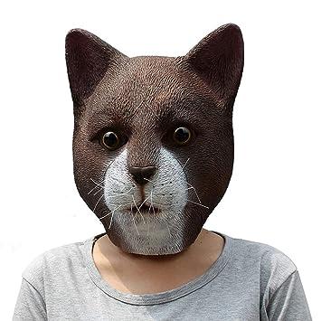 WLWWY Máscara Deluxe Novedad Cabeza Látex Juguete Bola Aventurero Gato Cabeza Máscara para Disfraz De Halloween: Amazon.es: Hogar
