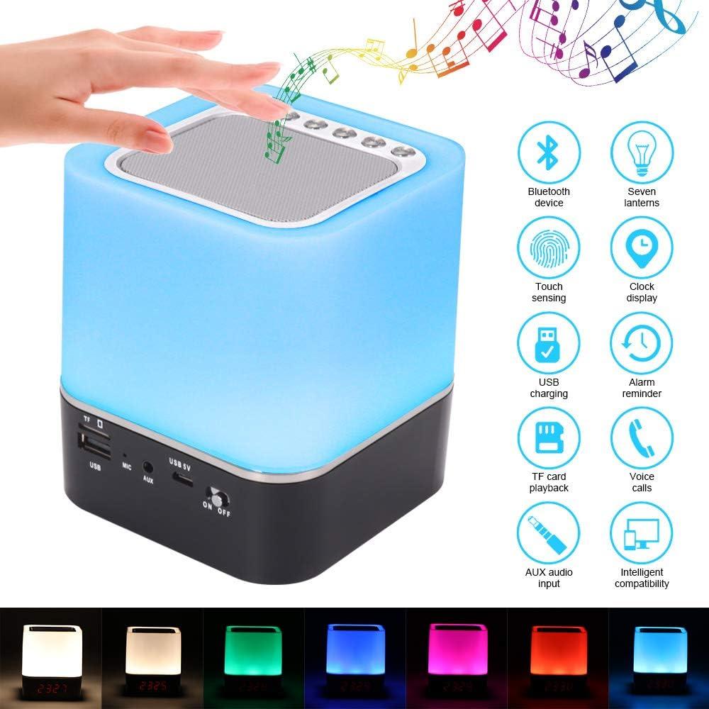 GGHKDD Lámpara de altavoz Bluetooth, luz nocturna 5 en 1, altavoz Bluetooth, calendario digital, reloj despertador, control táctil, batería 1200 mAh, soporte tarjeta TF SD, el mejor regalo