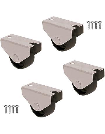 QC LO25M22P 4 Ruedas para muebles sin freno. Diámetro 25mm con placa de montaje y