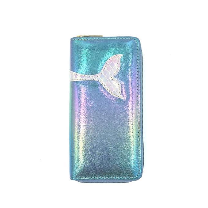 Amazon.com: Cartera holográfica brillante de sirena monedero ...
