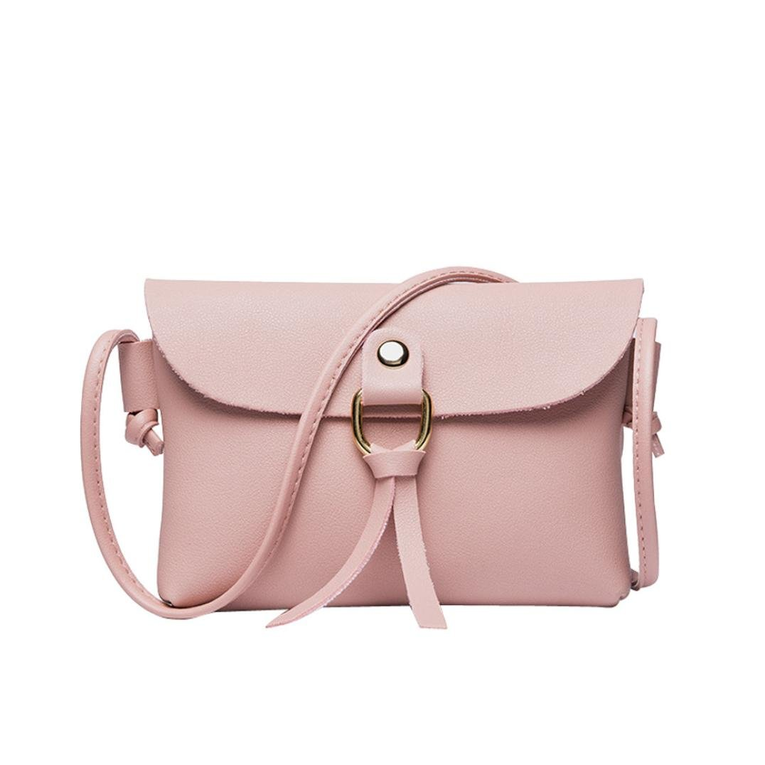 Rakkiss Women Shoulder Bag Girl Handbags Phone Coin Bag Fashion Solid Cover Tassels Crossbody Messenger Bag (One_Size, Pink)