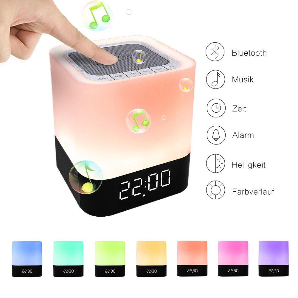 StillCool LED Bluetooth Lautsprecher Lampe Tcouch Dimmbar Farbwechsel Nachtlampe Nachtlicht 2/24H Zeituhr Digital Kalender Wecker Nachtlicht Wake-Up Licht MP3-Player Micro SD-Karte SD/USB/3, 5 mm shifashionshop STFXE10470